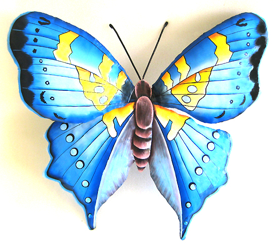 Painted Metal Blue & Yellow Butterfly Wall Hanging - Hand Painted Metal Wall Art - Hand painted metal butterfly wall hanging - Tropical Decor - Garden and patio wall art - Handcrafted in Haiti from recycled steel drums
