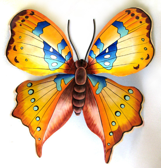 Painted Metal Gold Butterfly Wall Hanging