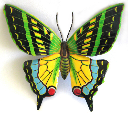 Painted Green & Yellow Butterfly Wall Hanging - Haitian Steel Drum Metal Art - 9