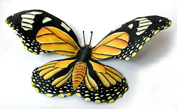 hand painted metal monarch butterfly