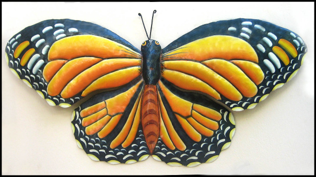 Monarch butterfly wall art, Painted Metal Butterfly wall hanging.