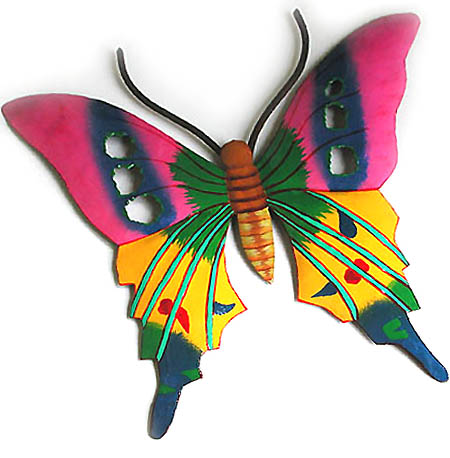 Butterfly Hand Painted Metal Wall Hanging Tropical Decor Patio Wall Art 14