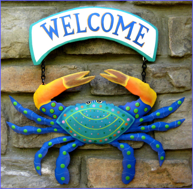 Crab welcome sign, Hand painted metal garden decor,