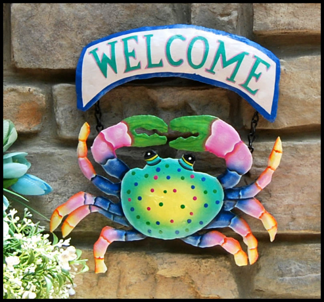 Hand painted metal crab welcome sign. Coastal décor, Created from recycled steel drums in Haiti.