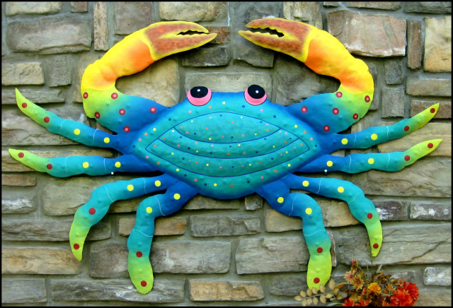 Painted Metal Art,  Crab wall decor