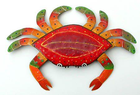 Handpainted Metal Crab Steel Drum Art in Orange - Hand painted metal crab nautical design - Tropical metal art wall hanging. Handcrafted in Haiti from recycled steel drums.