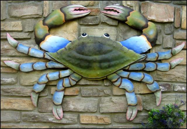 Blue crab nautical wall art, Beach home decor. Haiti Metal Art