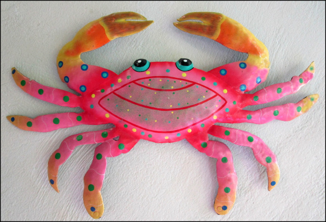 Painted metal crab wall hanging