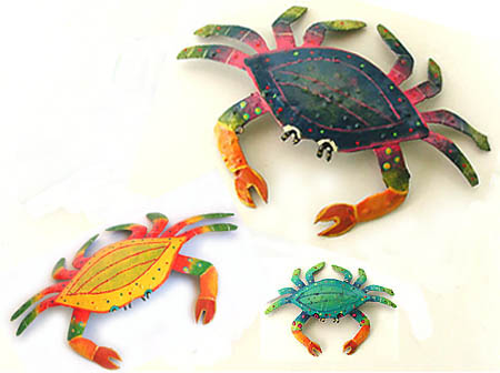 Crab 3 Piece Combo - Decorative Crabs - Hand painted metal tropical art wall hanging. Handcrafted in Haiti from recycled steel drums.