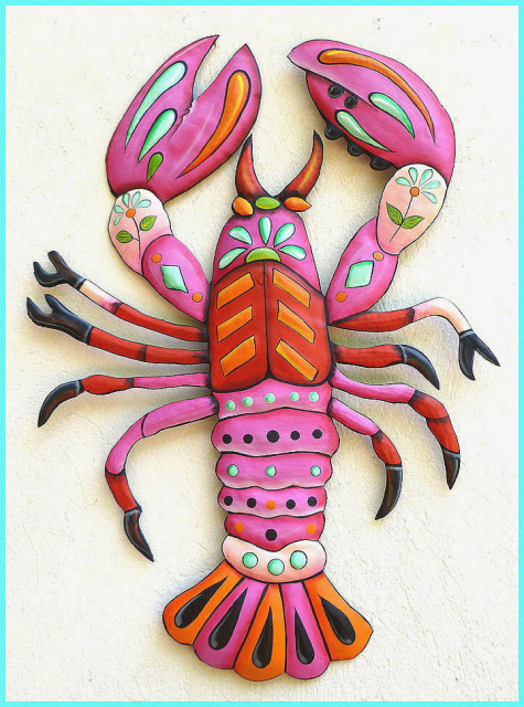 painted metal lobster wall hanging - Nautical design