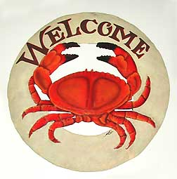 Round Red Crab Welcome Sign - Nautical Decor - Hand painted metal tropical art wall hanging. Handcrafted in Haiti from recycled steel drums.