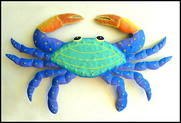Haitian recycled steel drum art - Painted metal crab wall decor