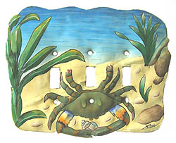 Painted Metal Blue Crab Switch Cover - Triple - 8