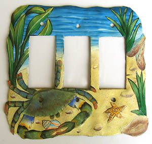 Triple Rocker Switchplate - Blue Crab Design - 7 1/2
