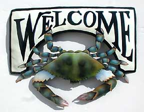 Painted Metal Blue Crab Welcome Sign - Hand painted metal tropical art wall hanging. Handcrafted in Haiti from recycled steel drums.