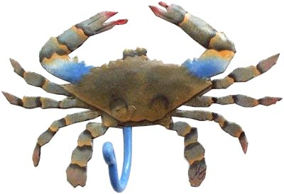 Realistically Handpainted Metal Blue Crab Wall Hook - Hand painted metal tropical art wall hanging. Handcrafted in Haiti from recycled steel drums.