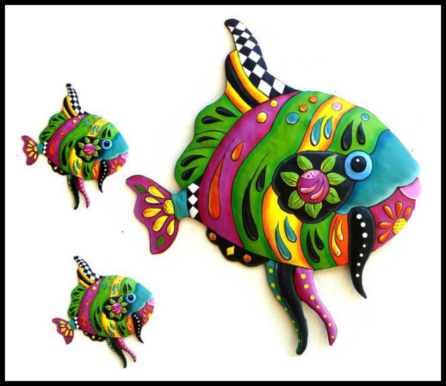 painted metal tropical fish wall art, Metal art, Haitian art