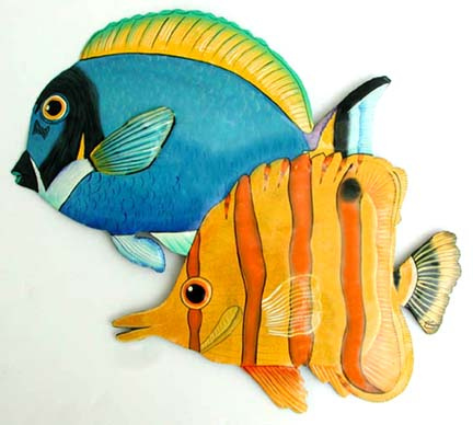 painted metal tropical fish wall decor