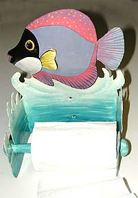 Pink & Purple Tropical Fish Toilet Paper Holder - 8""