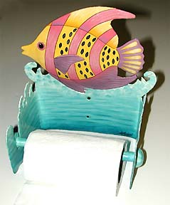 Painted Metal Tropical Fish Toilet Paper Holder -Caribbean Decor