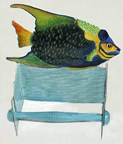 Blue Angelfish Toilet Paper Holder in Painted Metal - Bathroom Decor - 8""