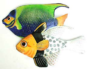 Painted Metal Tropical Fish Wall Decor - Handcrafted in Haiti from recycled steel drums. Decorative art tropical fish wall hanging.