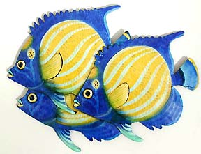 3 Tropical Fish Wall Decor - Painted Metal Outdoor Design -Hand painted tropical fish metal wall hanging Tropical art design. Handcrafted from recycled steel drums in Haiti. Caribbean wall decor.