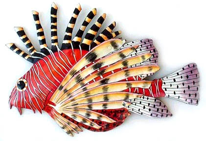 Red Firefish - Lionfish - Metal Wall Hanging - Tropical Home Decorative Piece - 12