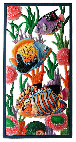 Tropical Fish Wall Panel - Framed in Wrought Iron - 17