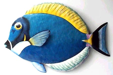 Blue Tropical Fish Wall Hanging - Handcrafted in Haiti from recycled steel drums. Decorative art tropical fish wall hanging.