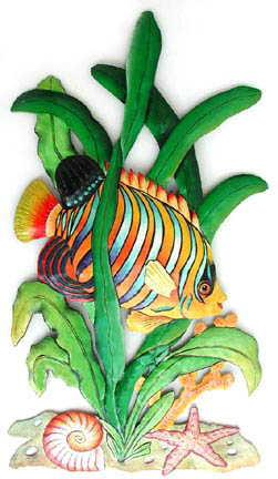 Hand painted metal tropical fish wall hanging. Handcrafted in Haiti for your home decor.