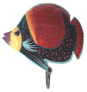 Painted metal tropical fish wall hook - Bathroom decor
