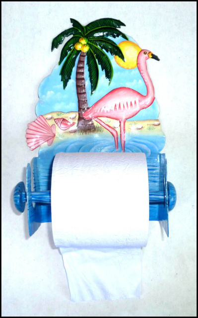 Painted Metal Pink Flamingo Toilet Paper Holder Bathroom Decor Hand painted tropical home decor - Hand cut from recycled steel drums in Haiti - Caribbean decor