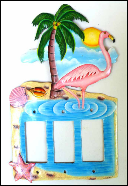 painted metal switch plate cover - tropical flamingo