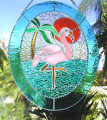 Stained Glass Flamingo Suncatcher - Handcrafted suncatcher with a  tropical feel.