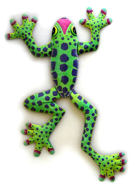 Green Spotted Frog - Hand Painted Metal Outdoor patio Wall Decor - Frog design - Tropical garden art wall hanging. Handcrafted in Haiti from recycled steel drums. Caribbean wall decor.
