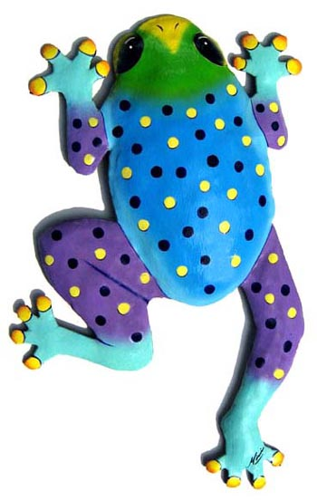 Caribbean Colors -Hand painted metal frog design - Tropical garden art wall hanging. Handcrafted in Haiti from recycled steel drums. Caribbean wall decor.