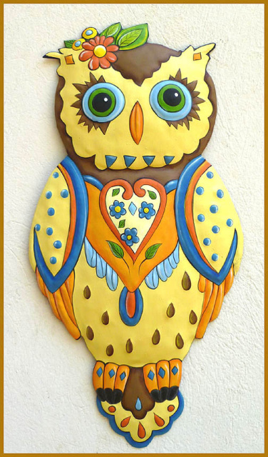 owl - hand painted metal wall decor