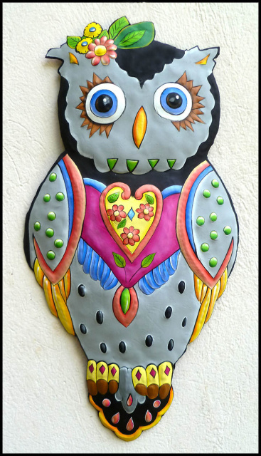 owl - painted metal wall hanging