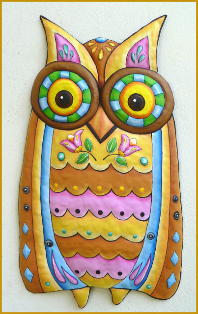 Owl - metal wall hanging - hand painted