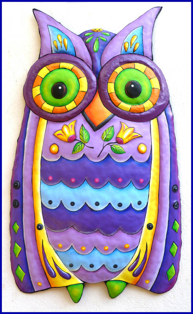 owl - painted metal owl wall hanging