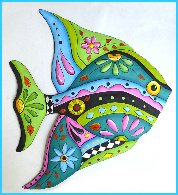 hand painted metal fish wall hanging