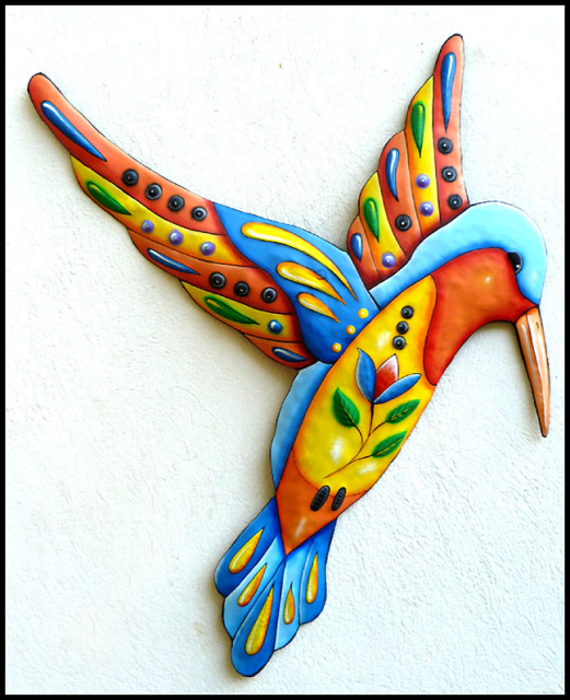 hummingbird - hand painted metal wall decor