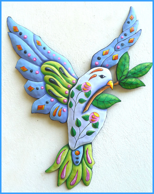 dove - painted metal wall hanging