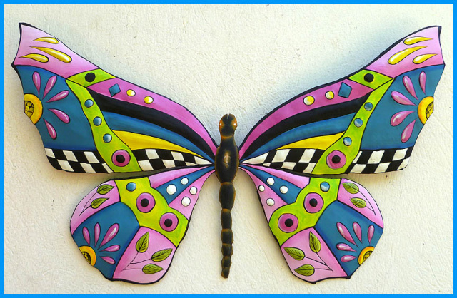 painted metal butterfly wall decor - whimsical art