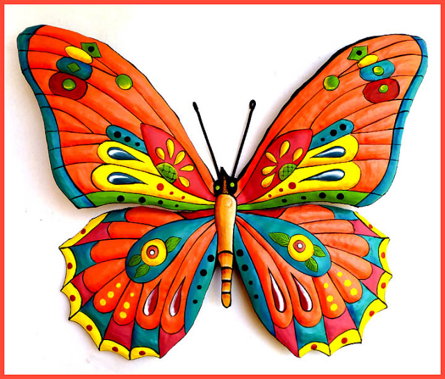 painted metal butterfly wall art