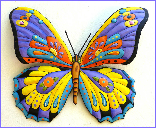 Butterfly wall hanging - painted metal