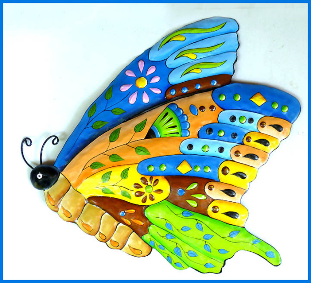 Painted metal butterfly wall hanging - Tropic Decor