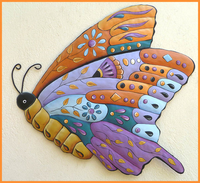 Decorative painted metal butterfly wall hanging