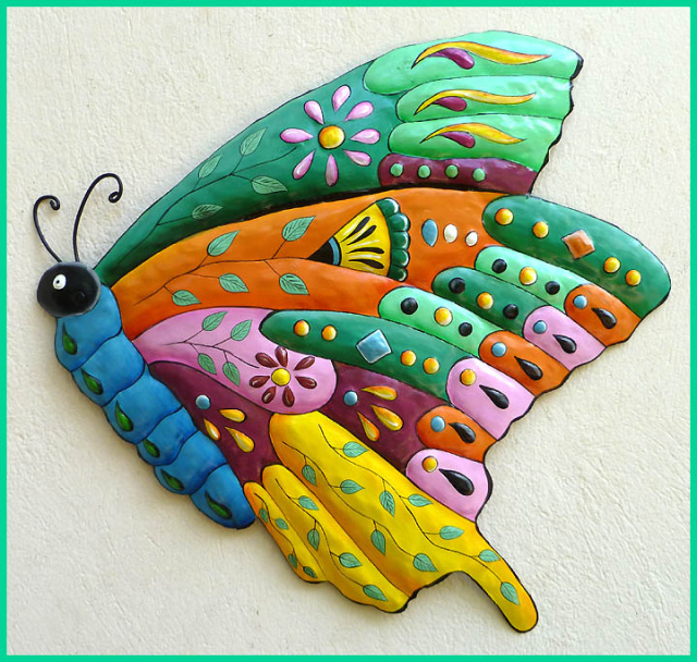 Painted metal butterfly wall decor - tropic decor